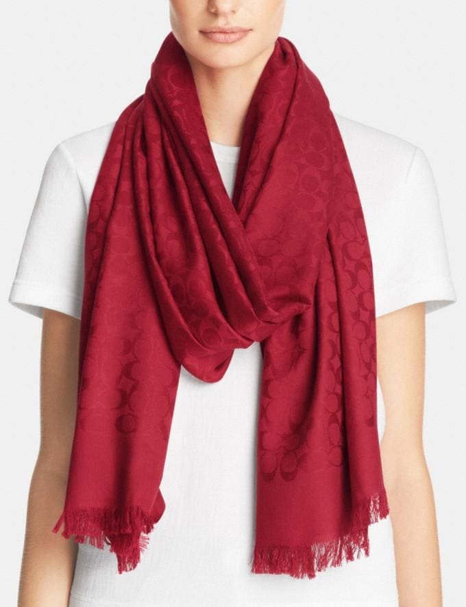 Coach Signature Stole True Red Women Accessories Scarves Alternate View 1