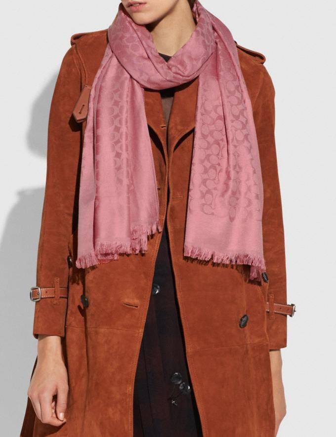 Coach Charakteristische Stola Gedecktes Rosa Damen Accessoires Schals & Handschuhe Alternative Ansicht 1