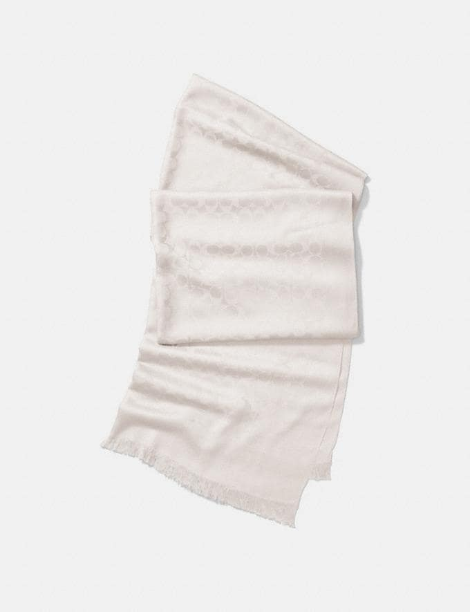 Coach Signature Stole Ivory Women Accessories Hats Scarves and Gloves