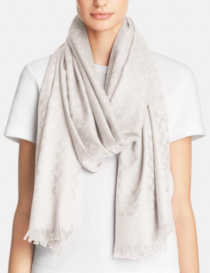 Coach Signature Stole Ivory Women Accessories Hats Scarves and Gloves Alternate View 1
