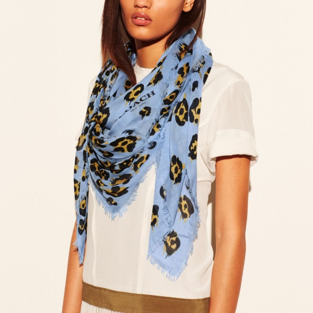 WILD BEAST PRINT OMBRE SHAWL SCARF - Alternate View A1