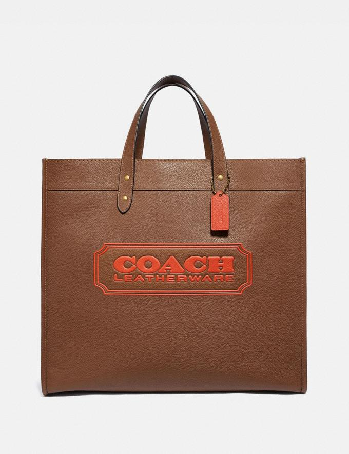 Coach Field Tote 40 With Coach Badge Brass/Dark Saddle Men Bags Totes & Duffles