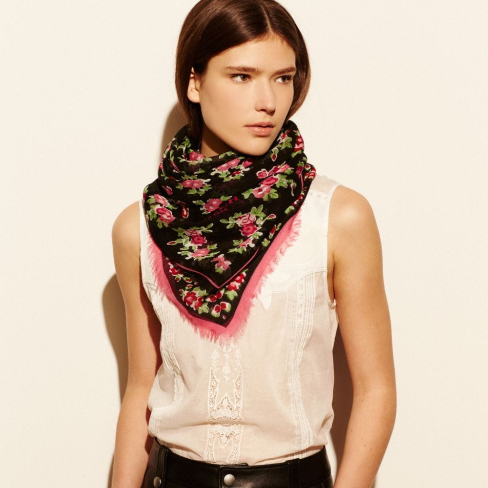 FLORAL WOVEN OVERSIZED SQUARE SCARF