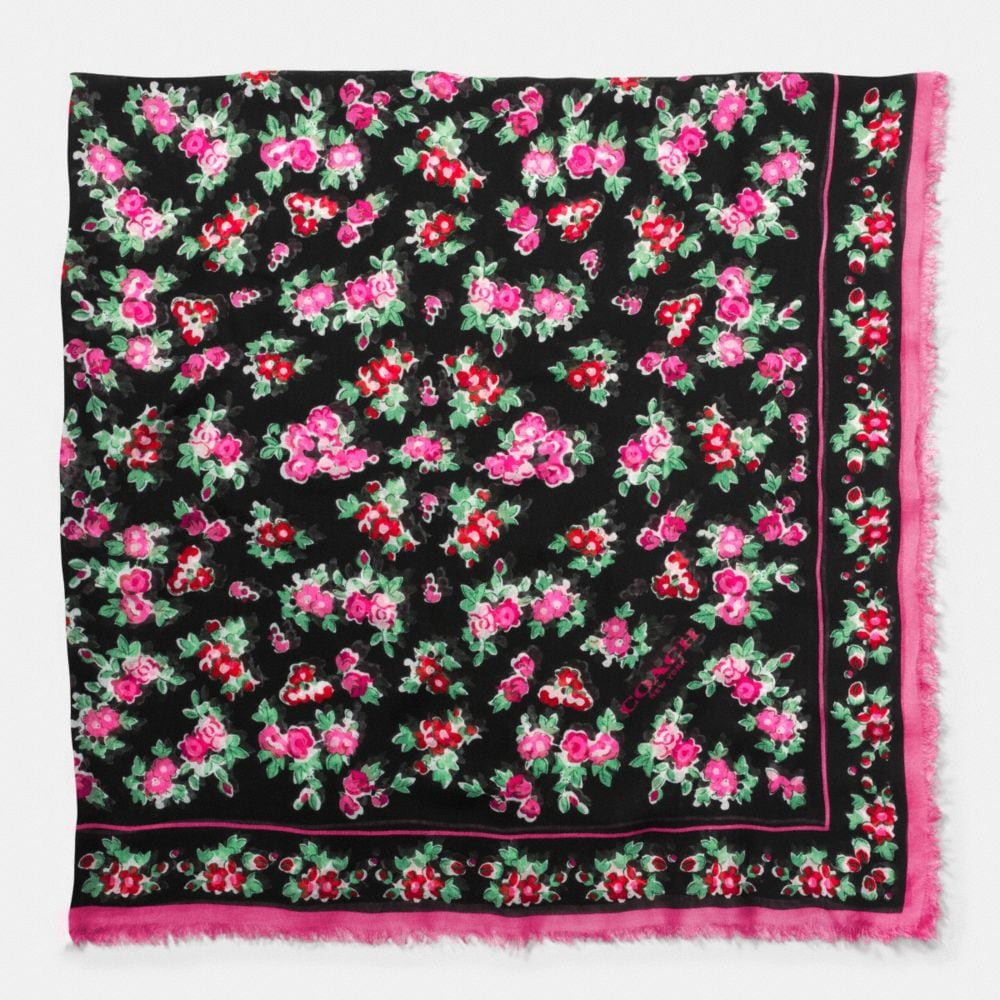 Floral Woven Oversized Square Scarf - Alternate View A1