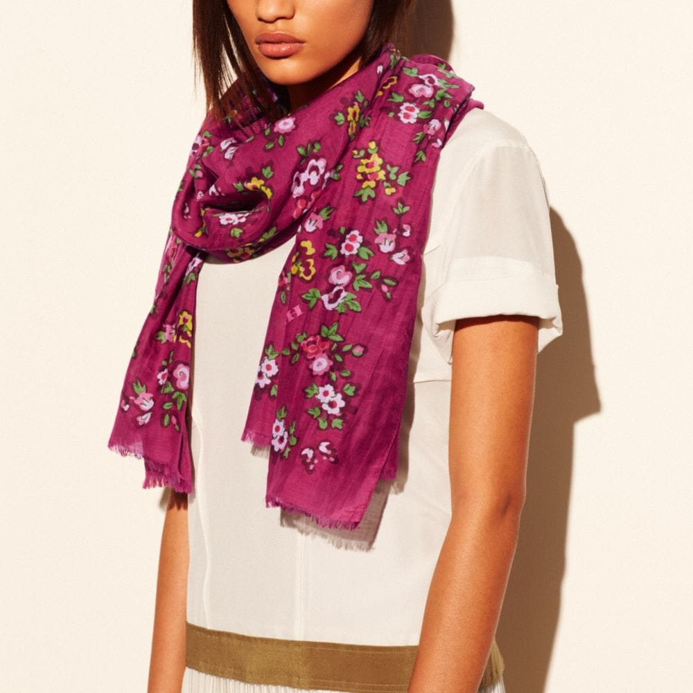 FLORAL OBLONG SCARF - Alternate View A1