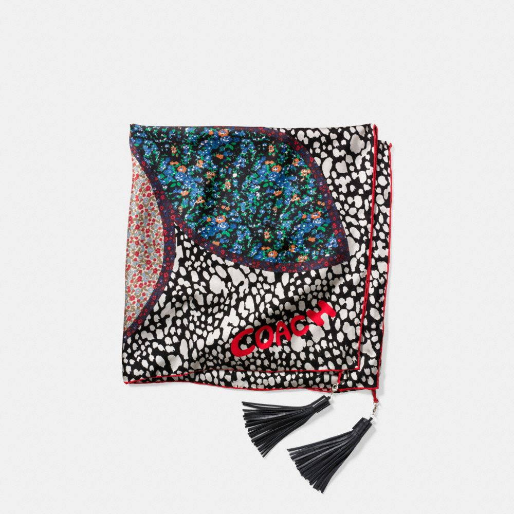 EMBELLISHED FLOWER PATCHWORK SILK TWILL SQUARE SCARF WITH TASSELS