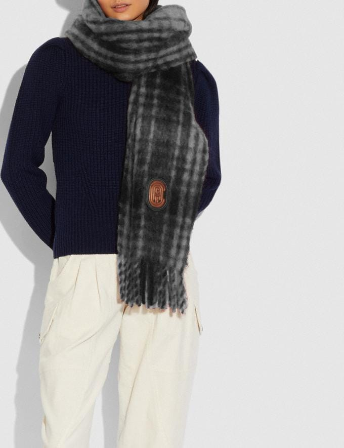 Coach Hunting Plaid Print Oversized Muffler Chalk Women Edits Cold Weather Edit Alternate View 1