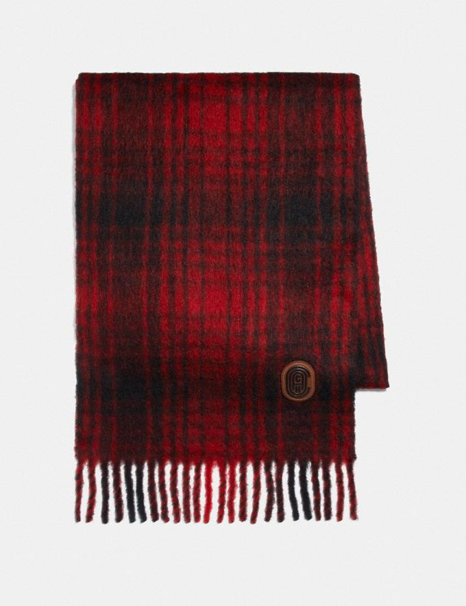 Coach Hunting Plaid Print Oversized Muffler Red Women Accessories Scarves and Gloves