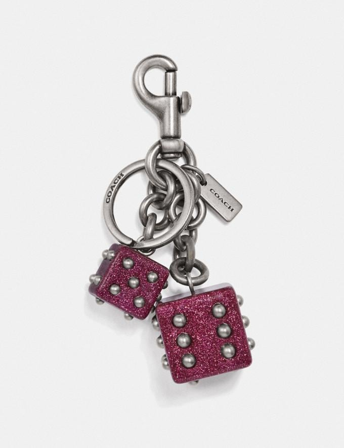 Coach Dice Bag Charm Bright Pink/Light Antique Nickel New Women's New Arrivals Accessories