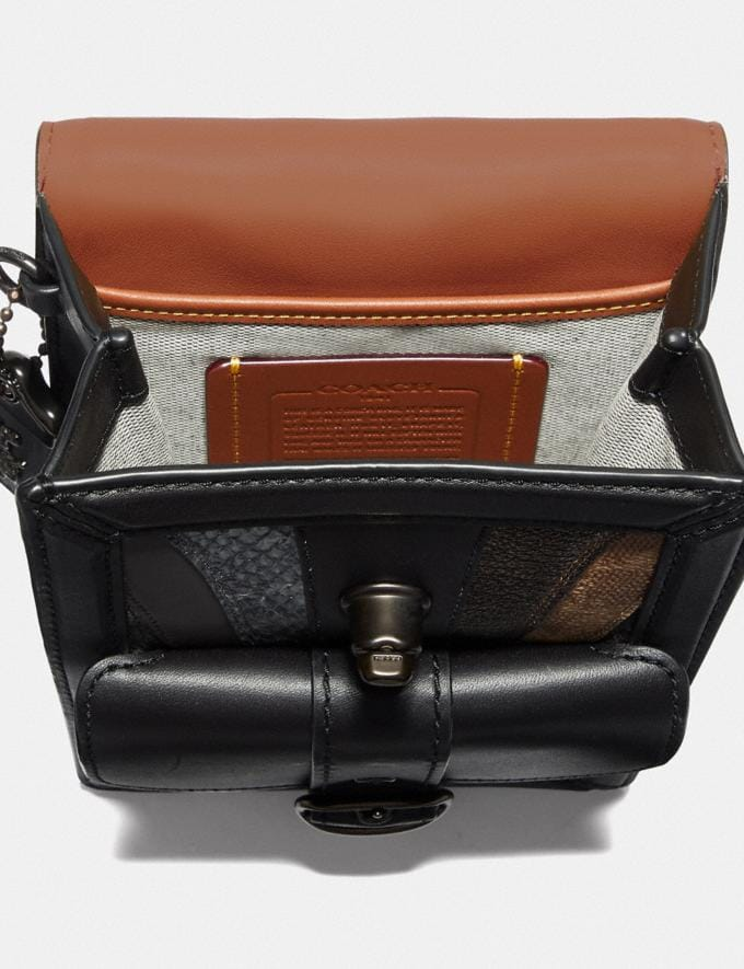 Coach Riley Crossbody With Wave Patchwork and Snakeskin Detail Black/Black Copper Men Bags Messenger & Crossbody Alternate View 2