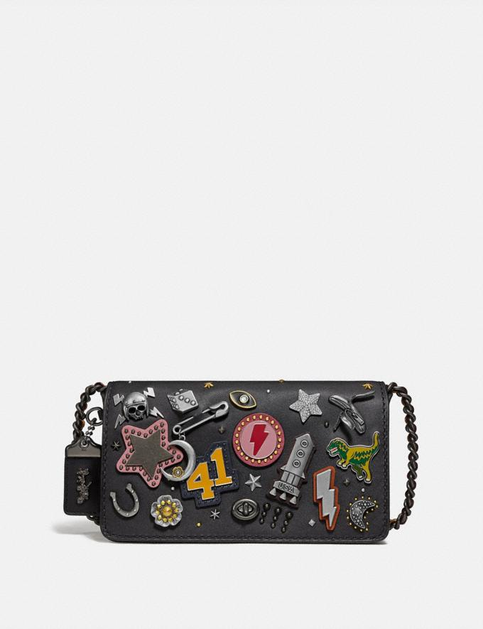 Coach Dinky With Signature Canvas Detail and Souvenir Pins Pewter/Tan Black Women Collection Dinky