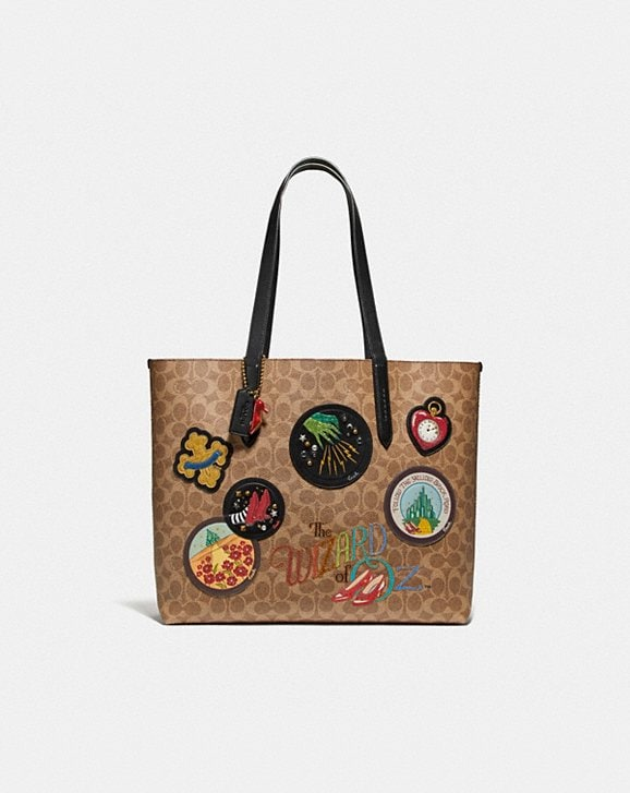 Coach WIZARD OF OZ HIGHLINE TOTE IN SIGNATURE CANVAS WITH PATCHES