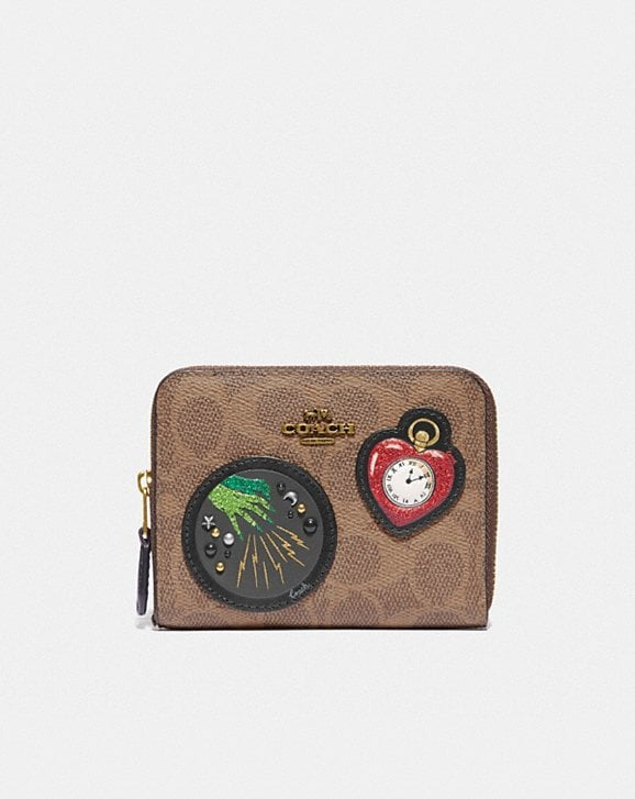 Coach WIZARD OF OZ BOXED SMALL ZIP AROUND WALLET IN SIGNATURE CANVAS WITH PATCHES