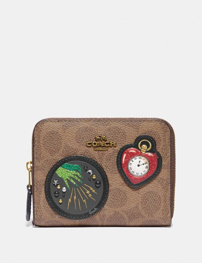 Coach Wizard of Oz Boxed Small Zip Around Wallet in Signature Canvas With Patches Brass/Tan Black New Featured Coach X The Wizard of Oz
