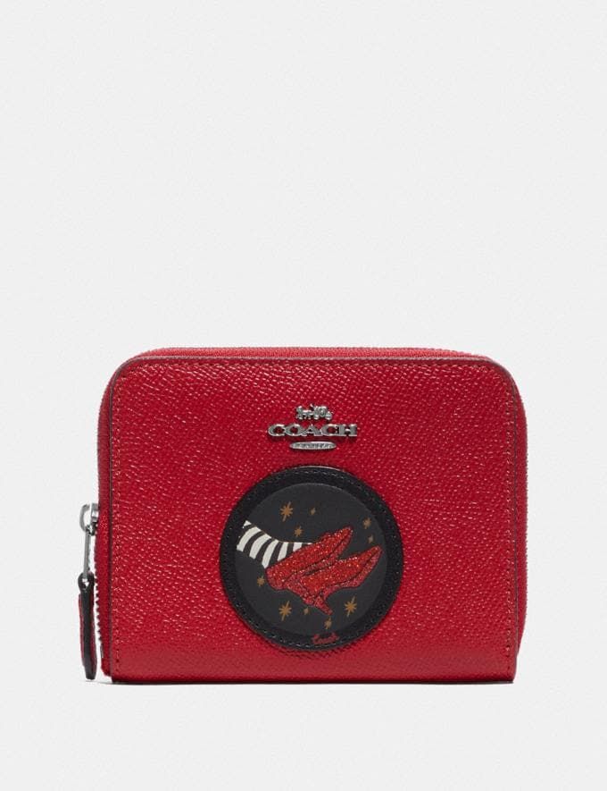 Coach Wizard of Oz Boxed Small Zip Around Wallet With Motif Silver/Red Apple New Featured Coach X The Wizard of Oz