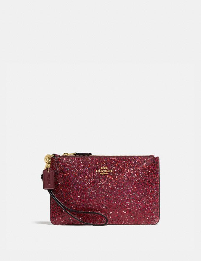 Coach Boxed Small Wristlet Gold/Red Women Accessories Tech & Work