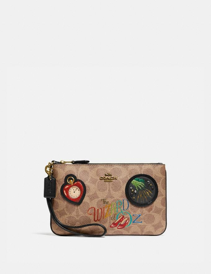 Coach Wizard of Oz Boxed Small Wristlet in Signature Canvas With Patches Brass/Tan Black Women Accessories Tech & Work