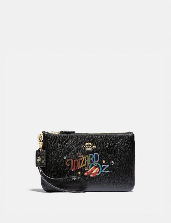 Coach Wizard of Oz Boxed Small Wristlet With Motif Gold/Black New Featured Coach X The Wizard of Oz