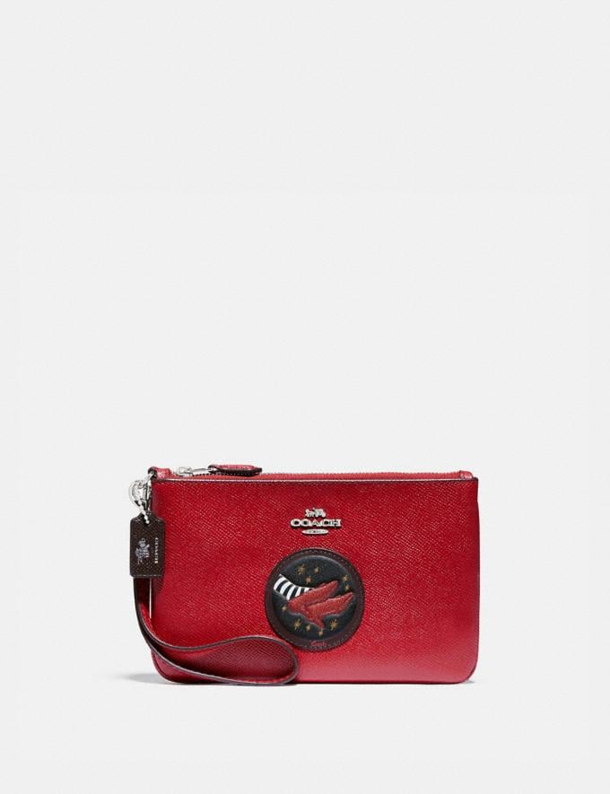 Coach Wizard of Oz Boxed Small Wristlet With Motif Silver/Red Apple Women Accessories Tech & Work