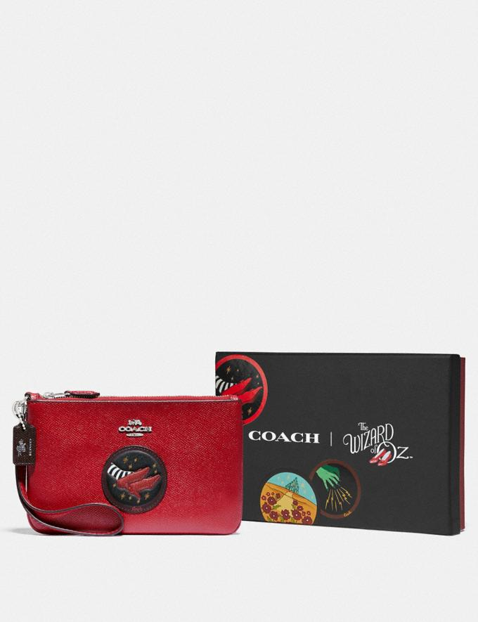 Coach Wizard of Oz Boxed Small Wristlet With Motif Silver/Red Apple Women Accessories Tech & Work Alternate View 2