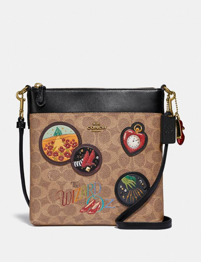 Coach Wizard of Oz Kitt Messenger Crossbody in Signature Canvas With Patches Brass/Tan Black Gifts For Her