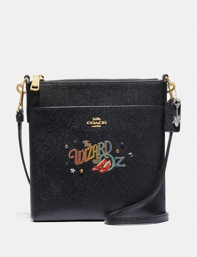 Coach Wizard of Oz Kitt Messenger Crossbody With Motif Gold/Black New Featured Coach X The Wizard of Oz