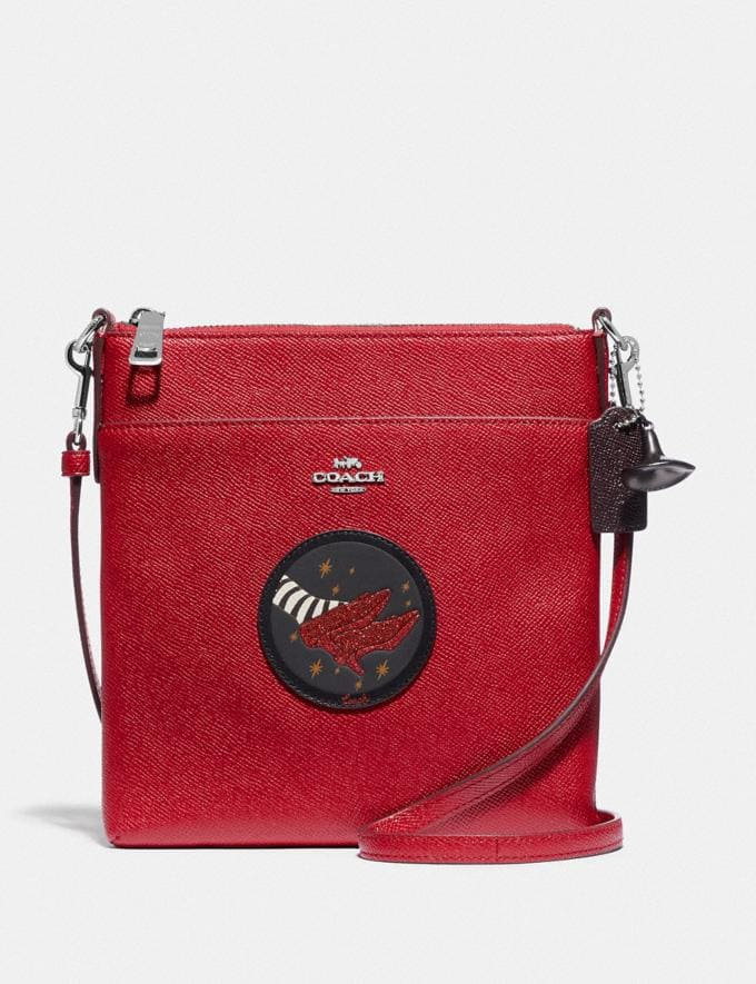 Coach Wizard of Oz Kitt Messenger Crossbody With Motif Silver/Red Apple New Featured Coach X The Wizard of Oz