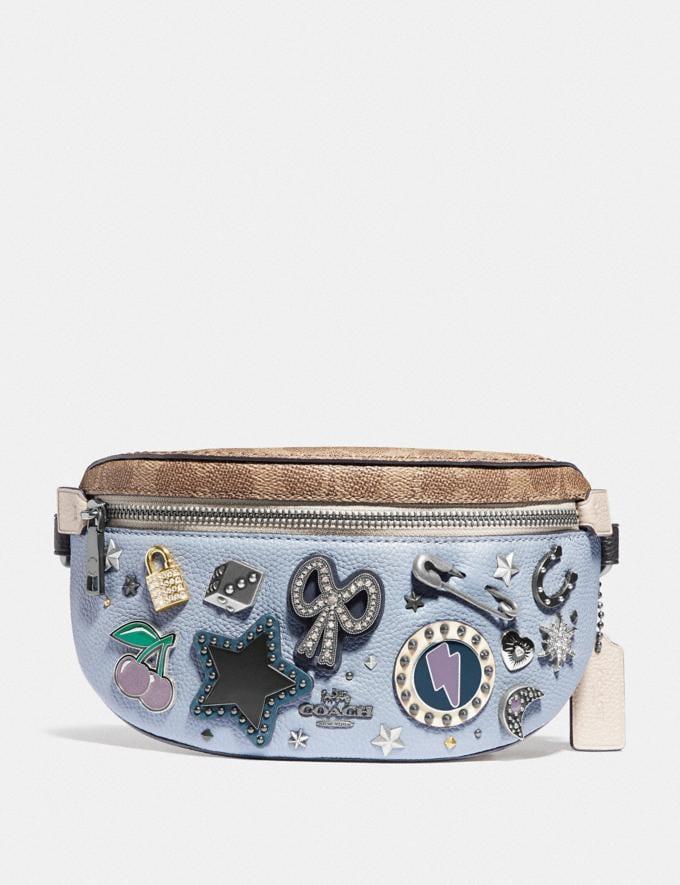 Coach Belt Bag With Signature Canvas Detail and Souvenir Pins Pewter/Tan Mist New Women's New Arrivals Bags
