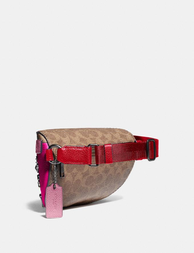 Coach Belt Bag With Signature Canvas Detail and Souvenir Pins Pewter/Tan Red Apple Event Alternate View 1