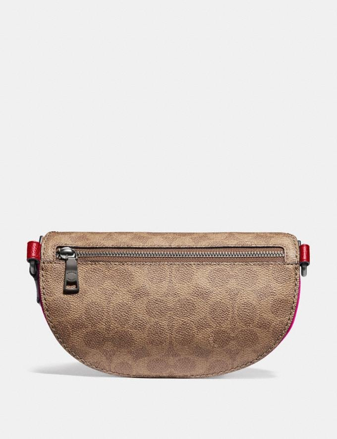 Coach Belt Bag With Signature Canvas Detail and Souvenir Pins Pewter/Tan Red Apple Event Alternate View 2