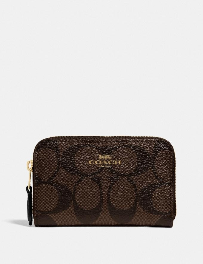 Coach Zip Around Coin Case in Signature Canvas Im/Brown Black