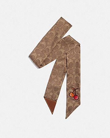 CHERRY PRINT SILK SKINNY SCARF WITH LEATHER TAB