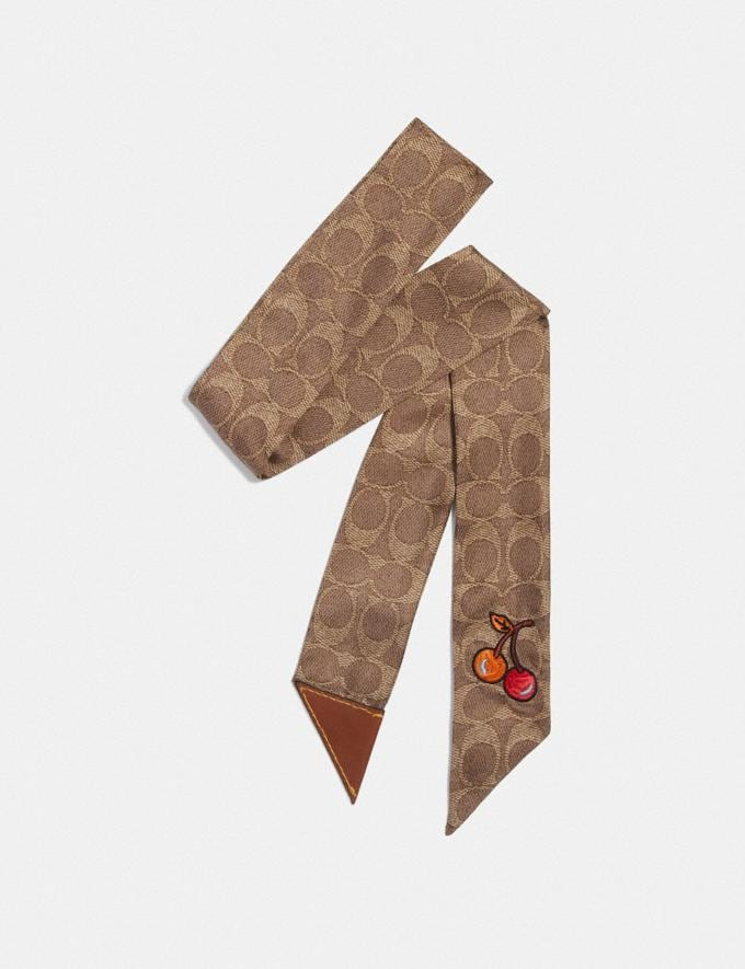 Coach Cherry Print Silk Skinny Scarf With Leather Tab Khaki Women Accessories Hats, Scarves & Gloves