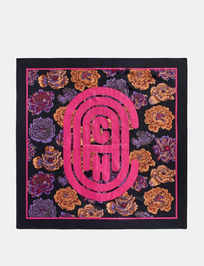 Coach Silk Square Scarf With Kaffe Fassett Print Black New Women's New Arrivals Collection