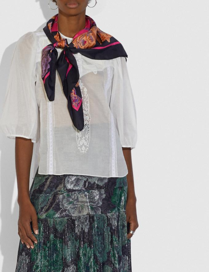Coach Silk Square Scarf With Kaffe Fassett Print Black New Women's New Arrivals Collection Alternate View 1