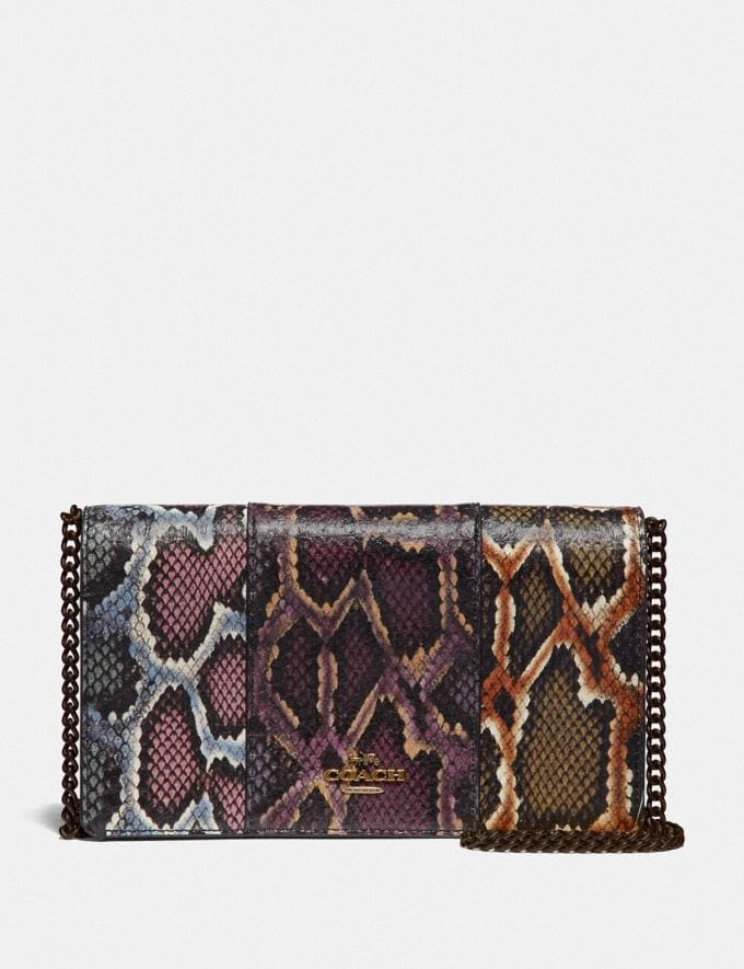 Coach Callie Foldover Chain Clutch in Colorblock Snakeskin Multicolor/Pewter Women Accessories