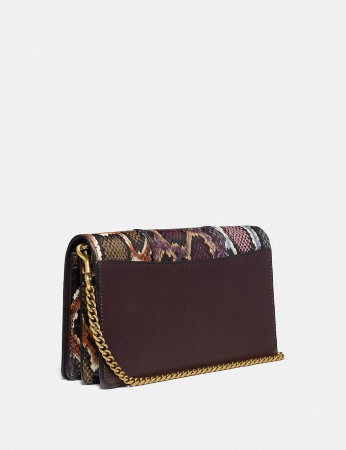 Coach Callie Foldover Chain Clutch in Colorblock Snakeskin Multicolor/Pewter Women Accessories Alternate View 1