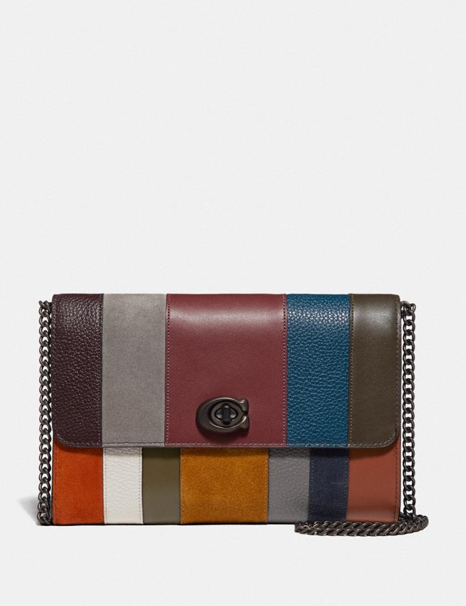 Coach Marlow Turnlock Chain Crossbody With Patchwork Stripes Oxblood Multi/Pewter Women Small Leather Goods Crossbody Wallets