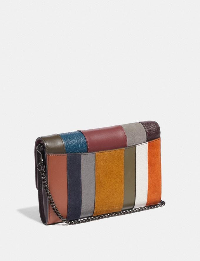 Coach Marlow Turnlock Chain Crossbody With Patchwork Stripes Oxblood Multi/Pewter Women Small Leather Goods Crossbody Wallets Alternate View 1