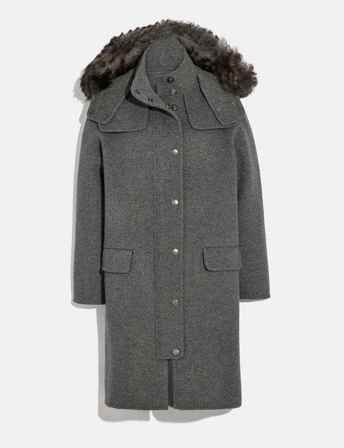 Coach Luxury Wool Parka With Shearling Ruff Grey Melange Women Ready-to-Wear Jackets & Outerwear