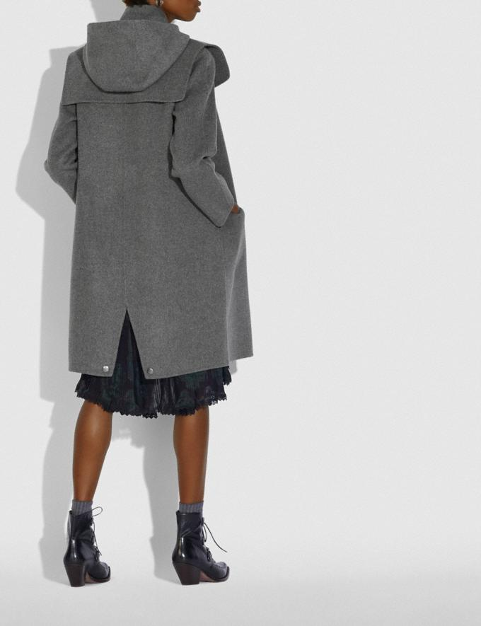 Coach Luxury Wool Parka With Shearling Ruff Grey Melange Women Ready-to-Wear Jackets & Outerwear Alternate View 2