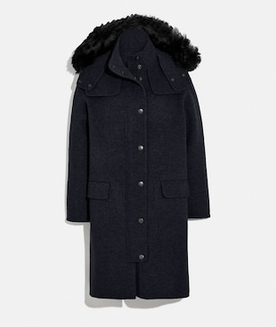 LUXURY WOOL PARKA WITH SHEARLING RUFF