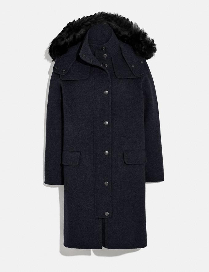 Coach Luxury Wool Parka With Shearling Ruff Navy