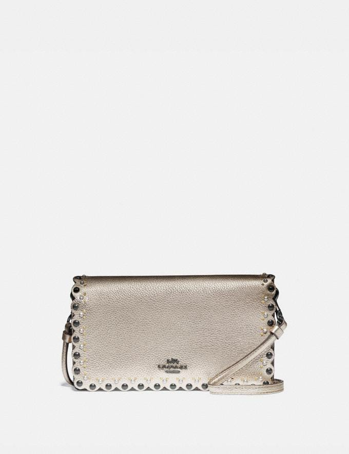 Coach Hayden Foldover Crossbody Clutch With Scallop Rivets Gm/Platinum Women Bags Crossbody Bags