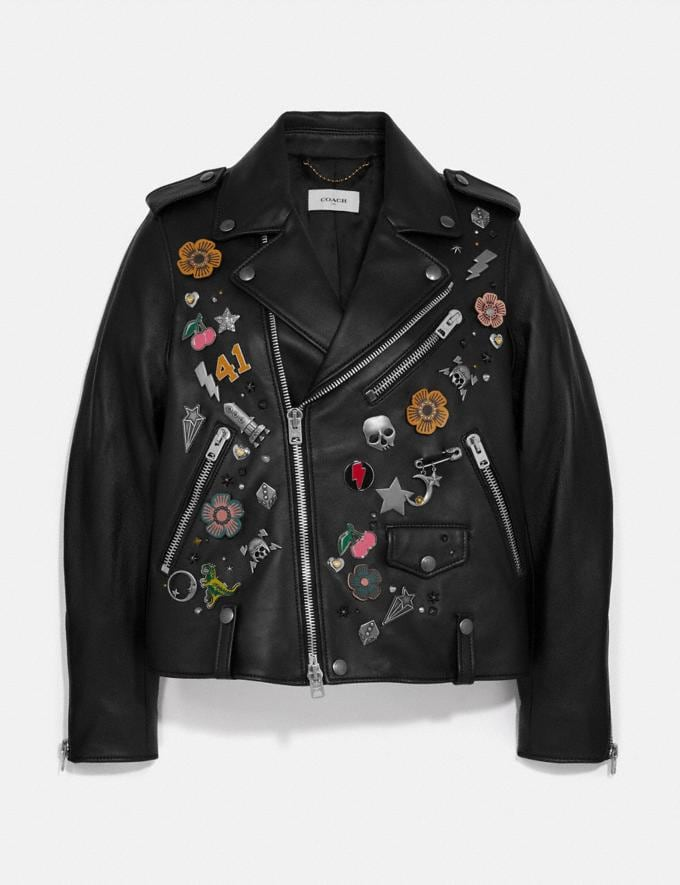 Coach Embellished Moto Jacket Black Women Ready-to-Wear Jackets & Outerwear