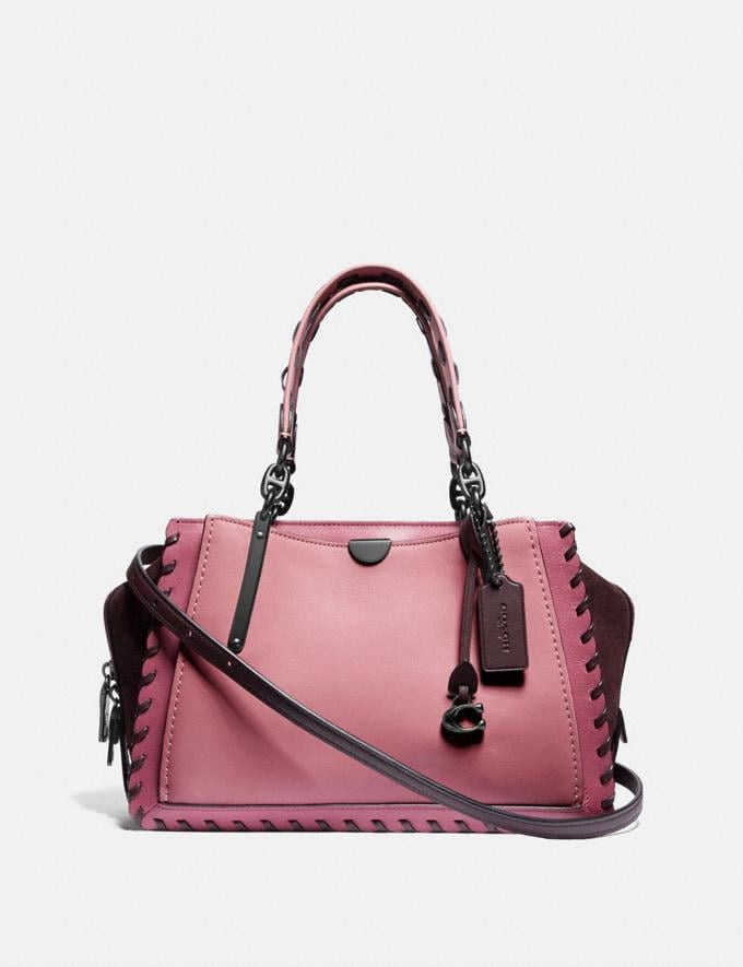 Coach Dreamer in Colorblock With Whipstitch True Pink Multi/Pewter Women Handbags Satchels & Top Handles