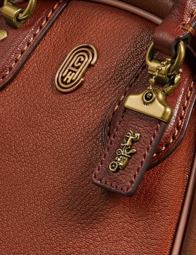 Coach Marleigh Satchel 20 in Colorblock 1941 Saddle Multi/Brass New Women's New Arrivals Collection Alternate View 4