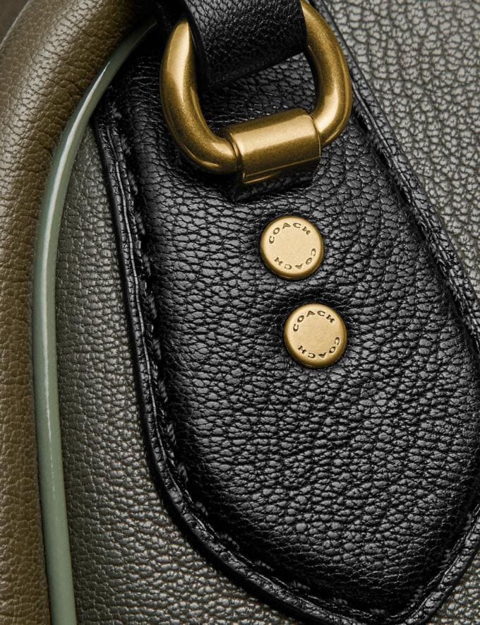 Coach Marleigh Satchel in Colorblock With Coach Patch Kelp Multi/Brass New Women's New Arrivals Collection Alternate View 4