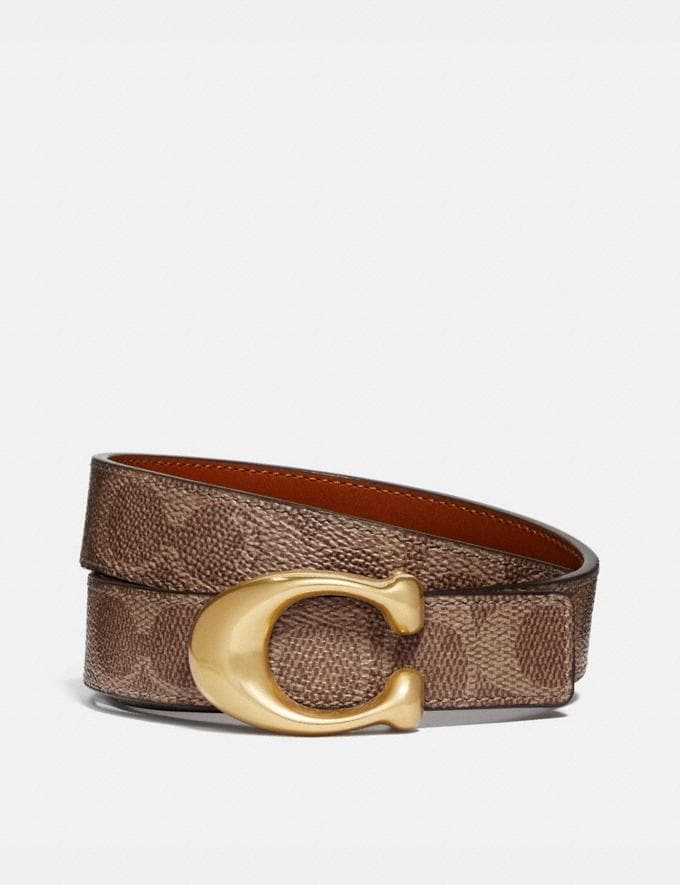 Coach Sculpted Signature Reversible Belt in Signature Canvas Tan/Rust/Brass New Women's New Arrivals Accessories