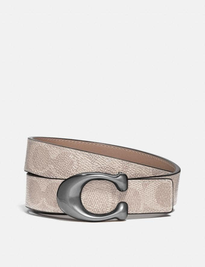 Coach Signature Buckle Reversible Belt, 25mm Nickel/Sand Taupe New Women's New Arrivals